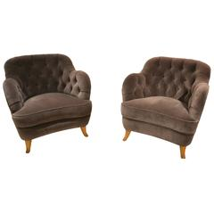 Pair of Rare and Early Lounge Chairs by Elias Svedberg, Sweden, circa 1940