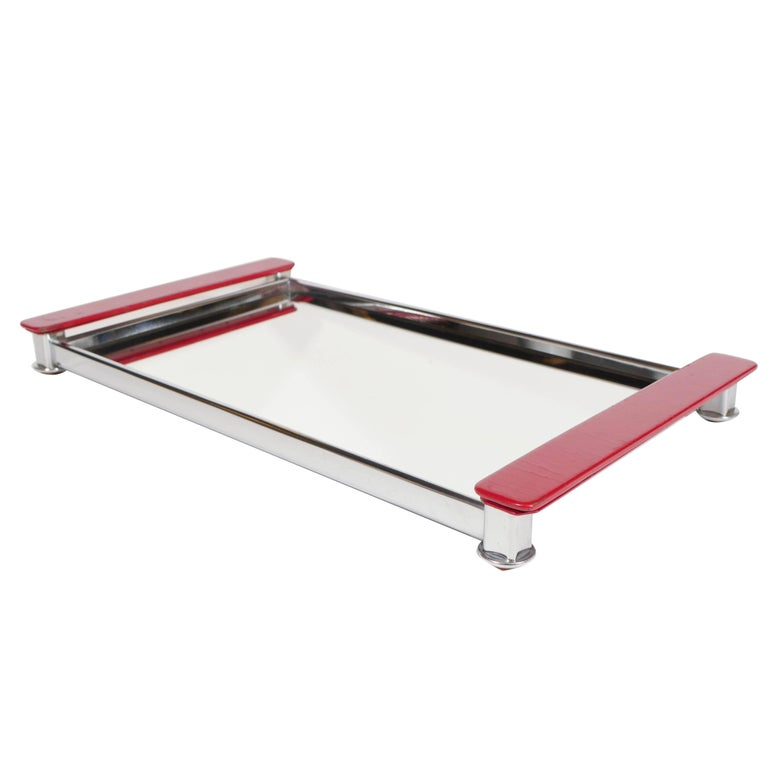 Art Deco Mirrored Bar Tray with Red Lacquered Handles