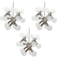 Three Kalmar Pendant Lights Chandeliers 'RS 14', Aluminum Atomic Molecule, 1970s