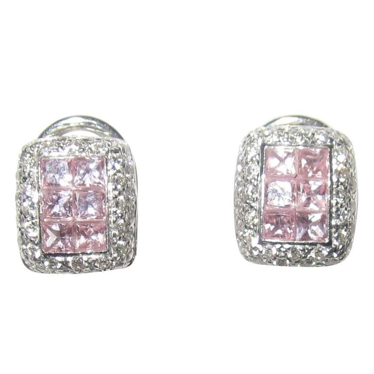 18-Karat White Gold Pave Diamonds and Pink Sapphire Earrings
