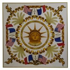 Vintage Framed Hermes Liberty Scarf