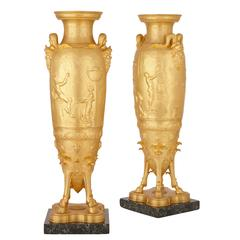 Large and important pair of gilt bronze vases by Levillain and Barbedienne