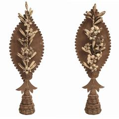 Early 19th Century Pair of Metal Sheet Flowers