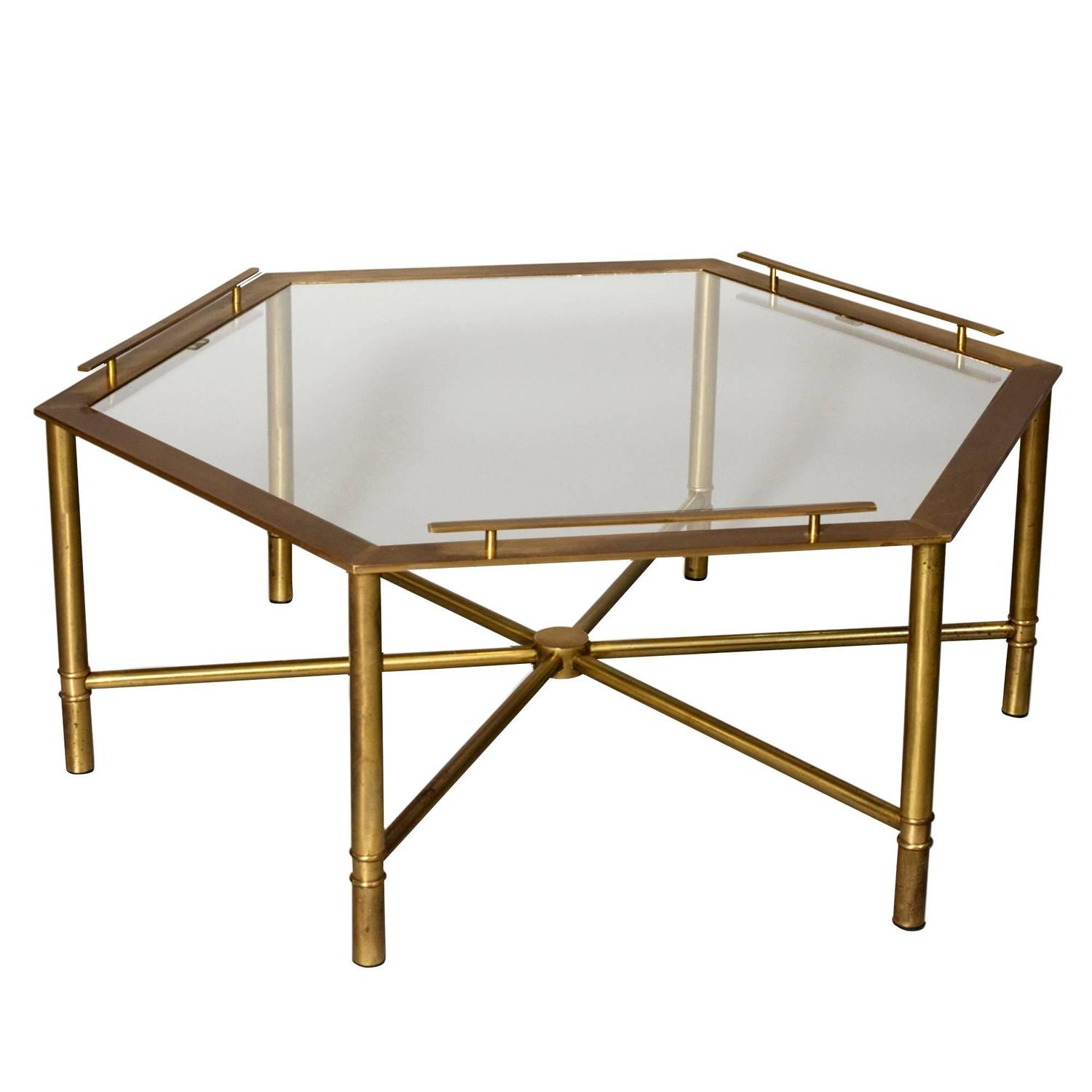 Bronze hex coffee table by mastercraft at 1stdibs Bronze coffee tables