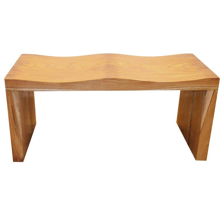 Andrianna Shamaris Natural Teak Wood Wave Bench For Sale At 1stdibs