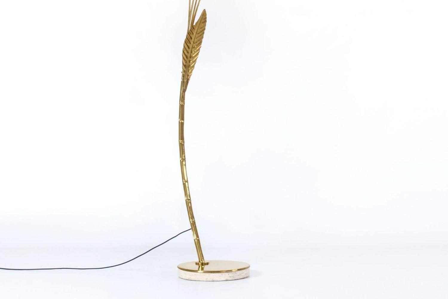 spectacular brass leaf arc floor lamp italy 1960s at 1stdibs. Black Bedroom Furniture Sets. Home Design Ideas