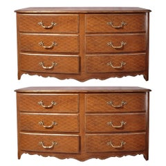 Pair of French Mid Century Leather Wrapped Chests of Drawers