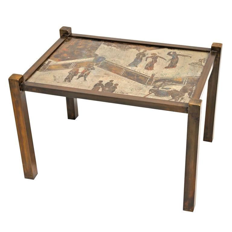 """Small Signed Philip and Kelvin LaVerne Bronze """"Tao"""" Table For Sale"""