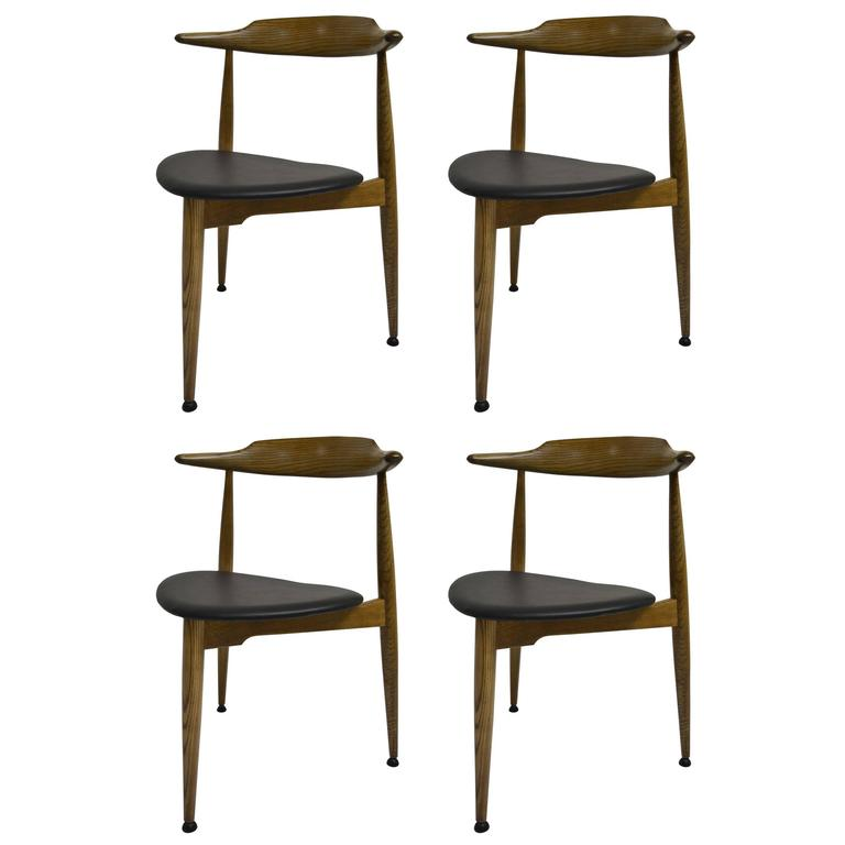 Set of Four Early Heart Chairs by Hans Wegner for Fritz Hansen