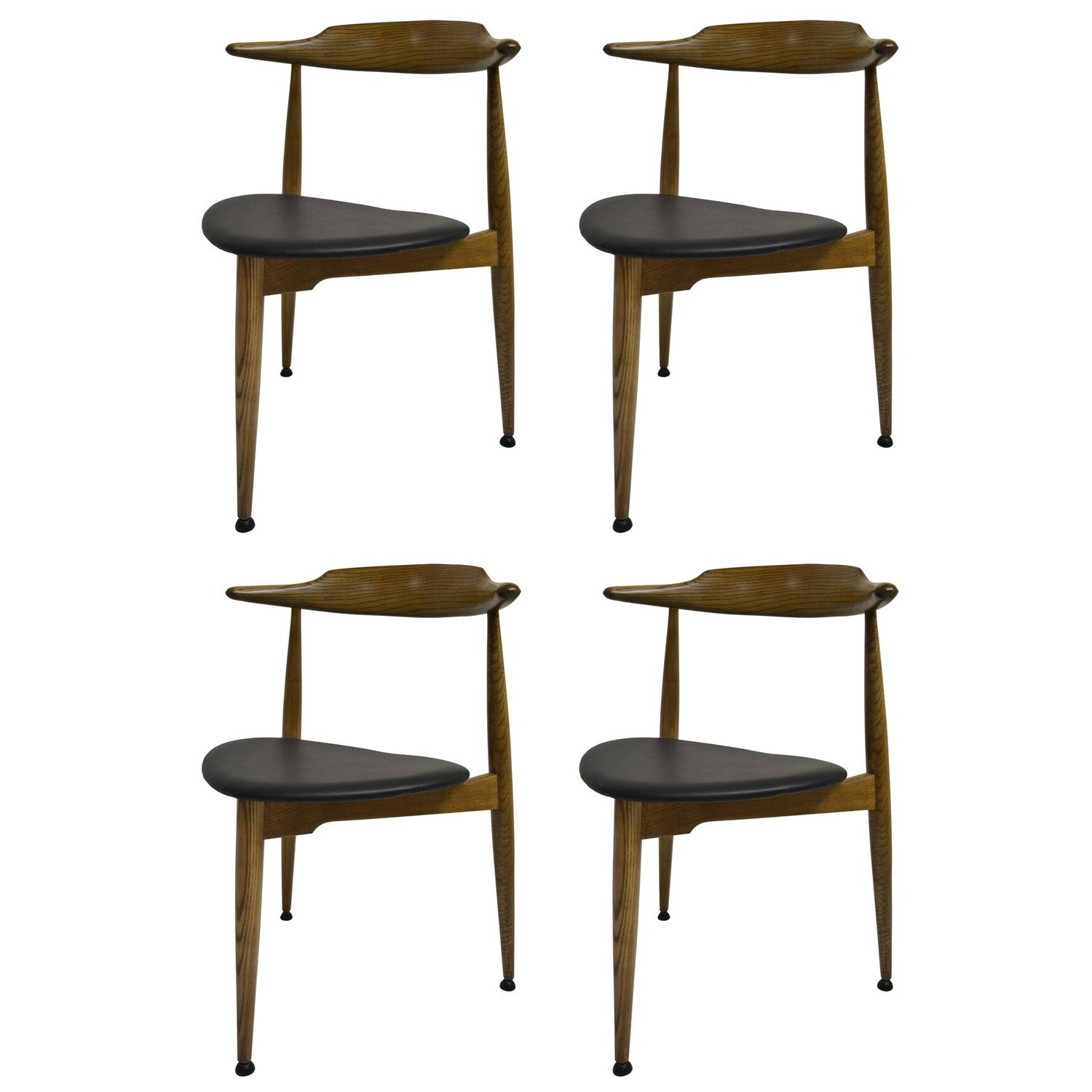 Set Of Four Early Heart Chairs By Hans Wegner For Fritz