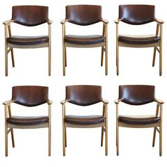 Set of Six Dining Chairs in Oak and Brown Leather by Erik Kirkegaard