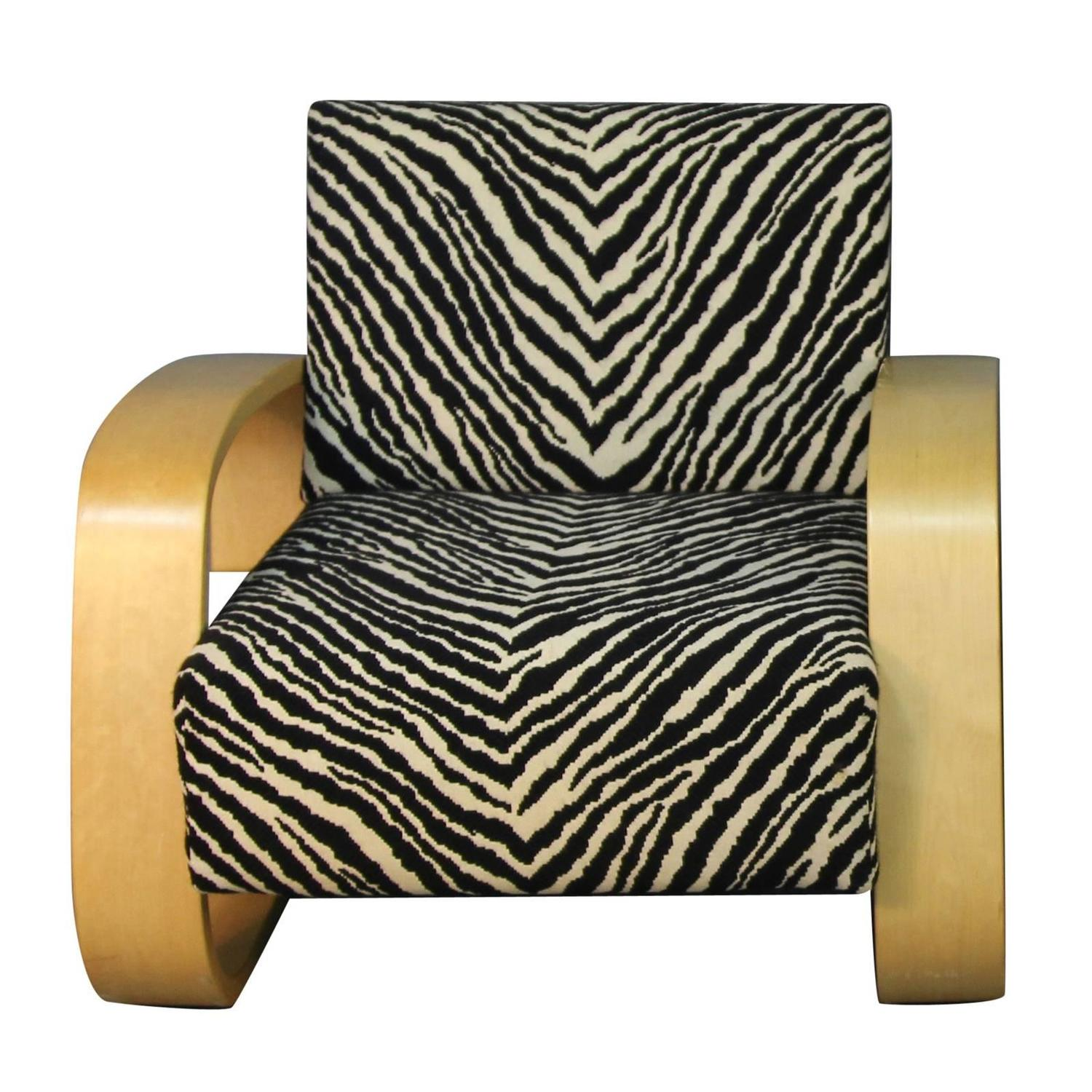 Alvar Aalto Tank Chair with Zebra Pattern Upholstery at 1stdibs