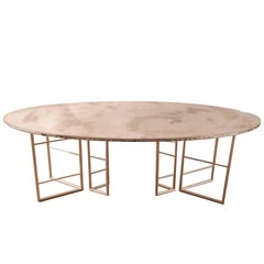 Fly dining room table brass legs diamond cut double glass top silvered 210x75h