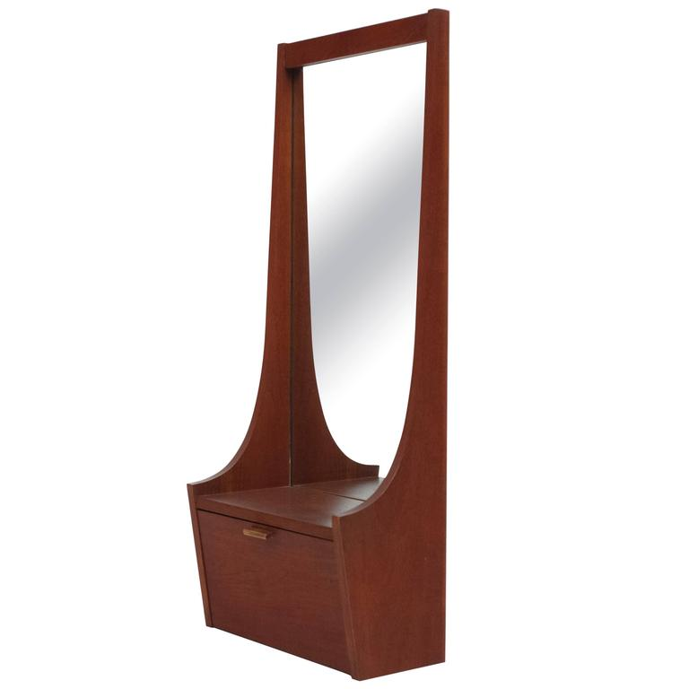Modern Foyer Mirror : Mid century modern entryway mirror with shelf and cabinet