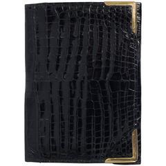 Superb Hermes Paris 1960s Gentlemans Black Crocodile Gold Cornered Wallet
