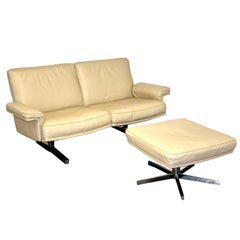 Vintage De Sede DS 35 Two-Seat Sofa or Loveseat with ottoman, 1970s