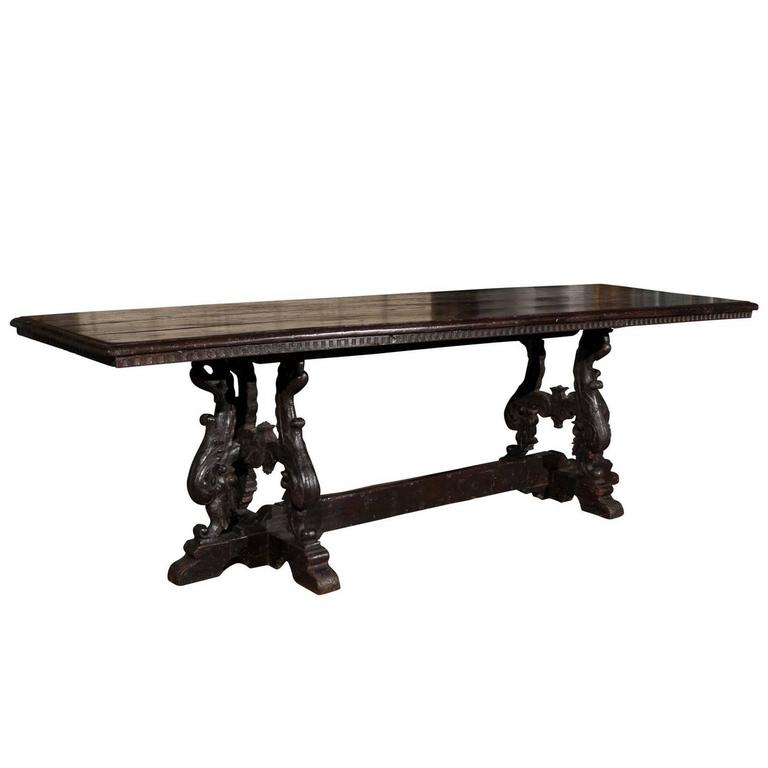 Italian 19th Century Baroque Style Carved Oak Library Table with Volute Legs
