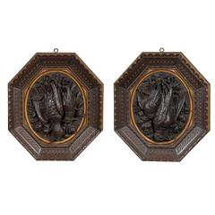 Pair of 19th Century Black Forest Octagonal Plaques