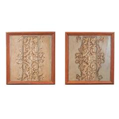 Pair of Large Italian 17th Century Paint Decorated Wood Panels