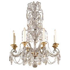 Italian Crystal Eight-Light Chandelier with Beaded Arms and Giltwood Bobèches
