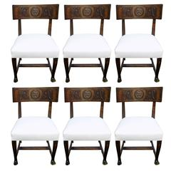 Set of Six Period Swedish Art Deco Chairs, Klismos Model, Attr to Eugen Höglund