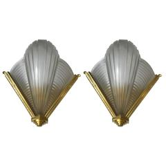 Pair of Petitot Ribbed Wall Sconces French Art Deco
