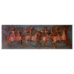 Roman Warriors on Charging Horses Wall Sculpture by Finesse Originals