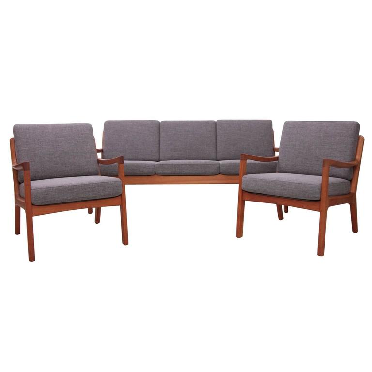 Ole Wanscher for France & Son or Senator Teak Set with new upholstery