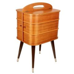 Danish Modern Sewing Box Storage Chest Plywood, 1960s Modernist Design Vintage