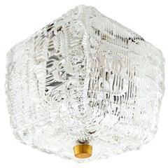 One of Two Kalmar Flush Mount Lights Textured Glass Brass, 1950s