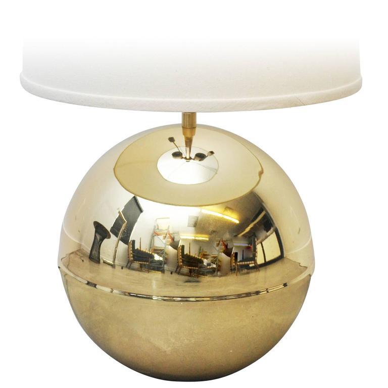 Karl Springer Brass Sphere Table Lamp