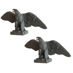 Large Mid-20th Century Pair of Eagle Statues