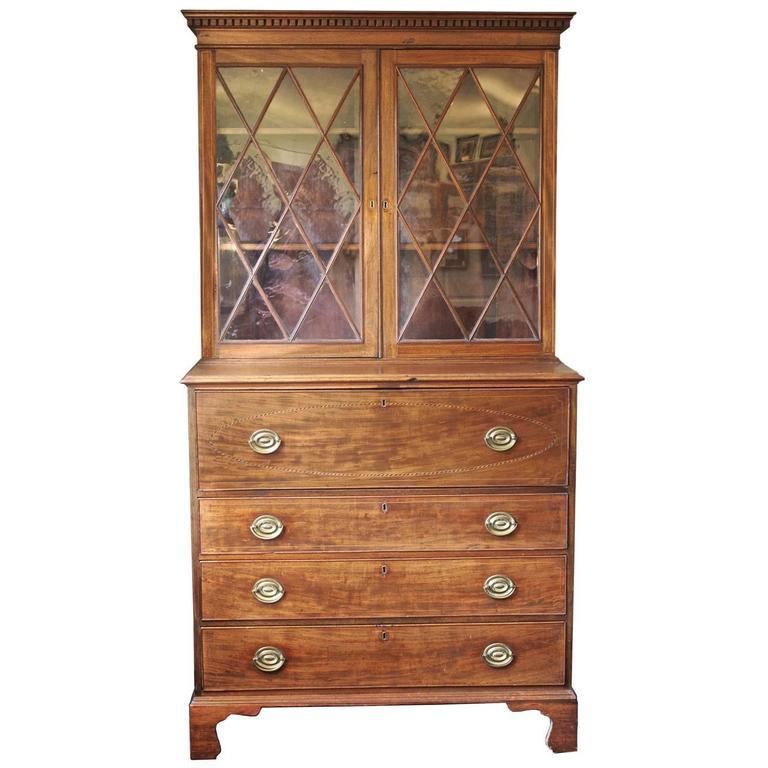 Maryland Hepplewhite Secretary Bookcase For Sale