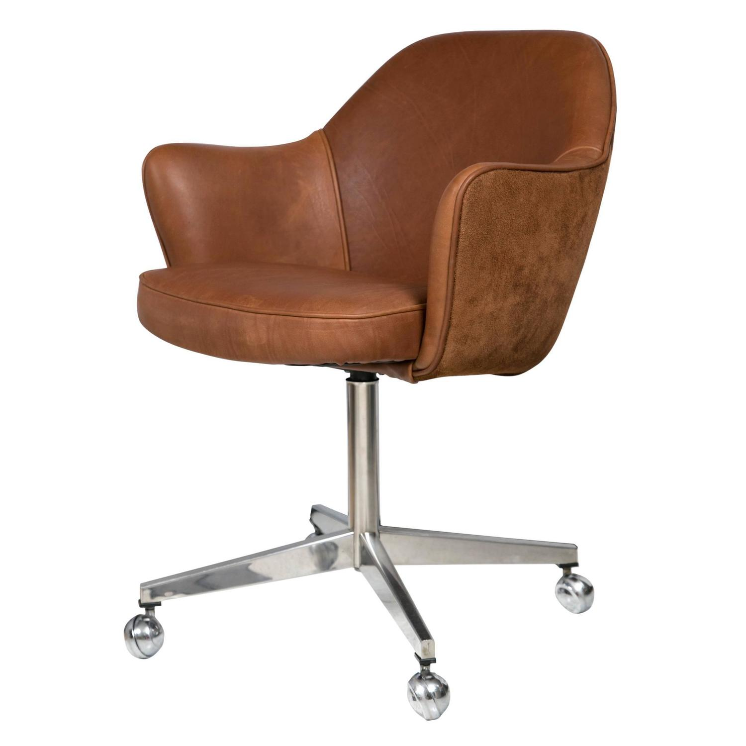 Knoll Desk Chair In Saddle Leather And Suede For Sale At