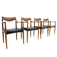 "Rare Set of Four ""Bambi"" Teak Armchairs by Rolf Rastad & Adolf Relling, 1950s"