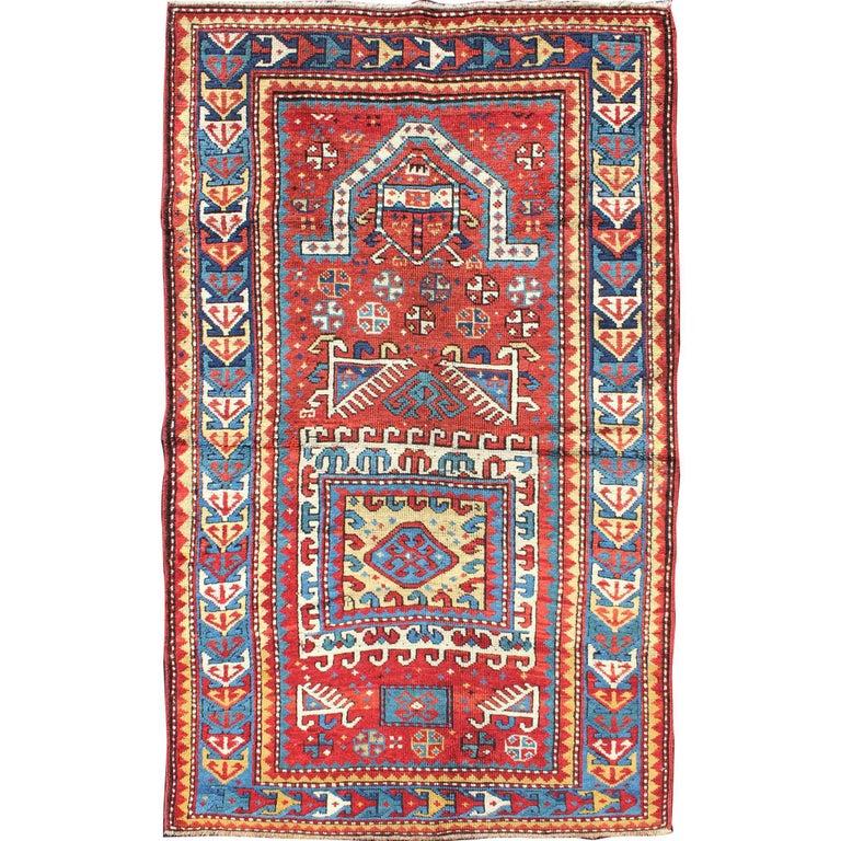 Antique Russian Caucasian Kazak Rug For Sale