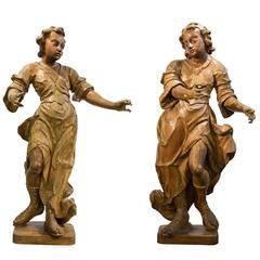 Large Pair of Baroque Wood Figures