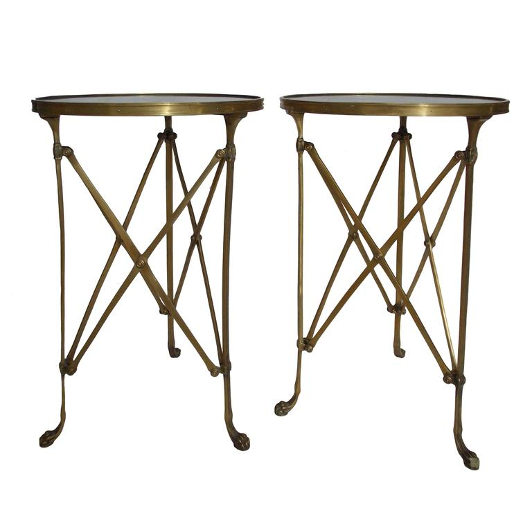 Pair of French Brass Neoclassical Gueridon Tables in the Jansen Manner 1