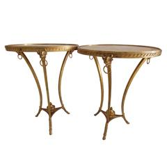 Pair of 19th Century French Louis XVI Style Gilt Bronze Gueridon Tables