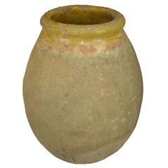 Antique French Terra Cotta Storage Jar with Yellow Glazed Rim from Biot