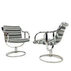 Pair of Steel Case Leather Swivel Chairs