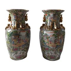 Pair of Chinese Rose Medallion Porcelain Urns with Gold Gilt