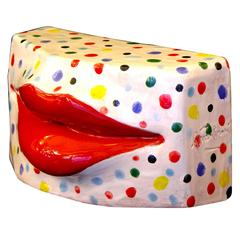 Lipstick Red Lips Modern TerraCotta Kiss Sculpture with Multicolor Dots on White