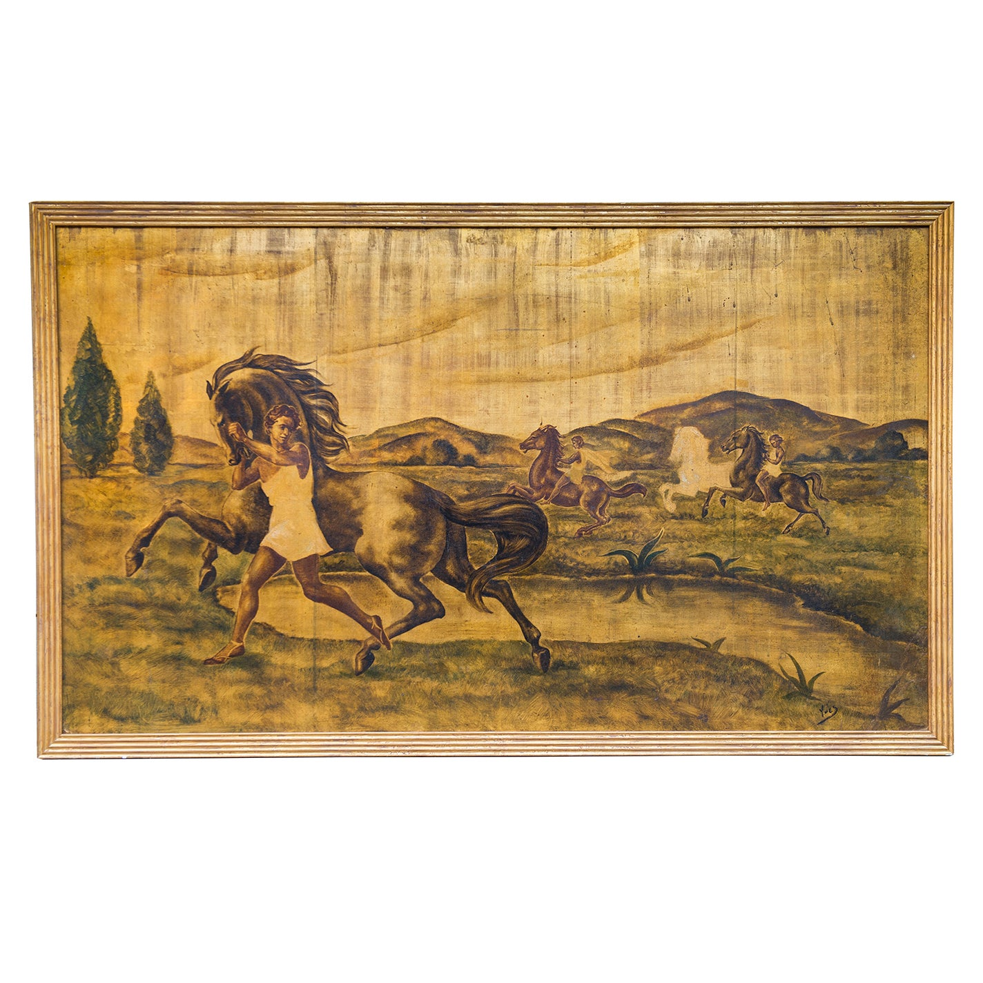 """Rare Art Deco  """"AMAZONS""""  Signed Gilded Painting on Wood"""