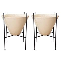 Pair of Lagardo Tackett for Architectural Pottery Bisque Planters with Stands