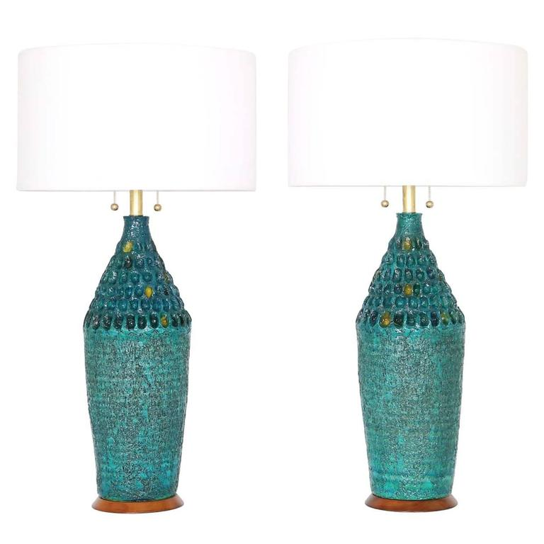 Midcentury Pair Of Brutalist Style Ceramic Lamps By Quartite Creative Corp.  For Sale