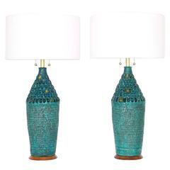 Midcentury Pair of Brutalist Style Ceramic Lamps by Quartite Creative Corp.