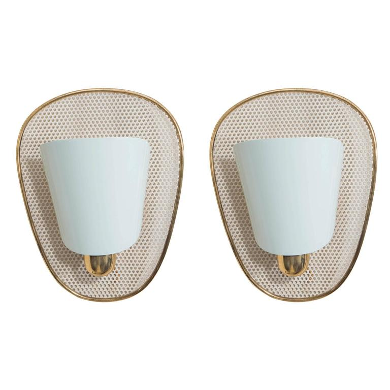 Pair of BAG Turgi Swiss Wall Sconces with Enameled Shades