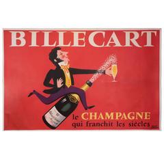 Rare Hervé Morvan Lithograph 'Billecart Le champagne qui Franchit les siècles'