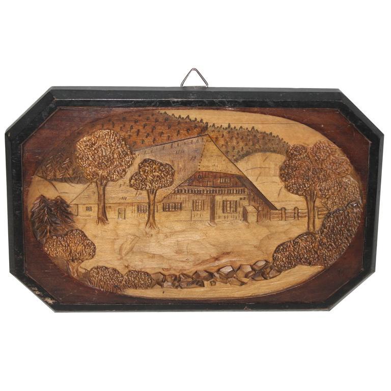Hand-Carved Wood Pictoral of Log Cabin